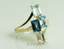 Multi Color Topaz Ring in 10k Yellow Gold 2.80 Carats Size 6