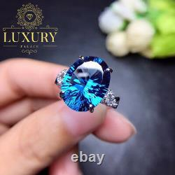 Natural Blue Topaz 10 Carat Fire Effect 925 Sterling Silver Women Rings