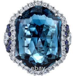 Oravo 14K White Gold 21.70 Carats London Blue Topaz Diamond Sapphire Ring Size 7