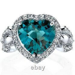 Oravo 14K White Gold 4.00 carat London Blue Topaz Heart Shape Halo Ring