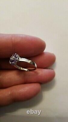 PRETTY 0.69 CARAT TANZANITE & GENUINE DIAMOND 14KT SOLID WHITE GOLD RING Sz 7