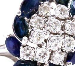 Platinum 3.37 Carats Cocktail Ring With Round Diamonds & Blue Sapphire