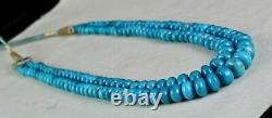 Real Natural Turquoise Round Beads 2 Line 351 Carats Gemstone Fashion Necklace