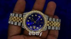 Rolex 36mm Two Tone Date Just Jubilee Watch 9 Carats Diamonds Royal Blue Dial