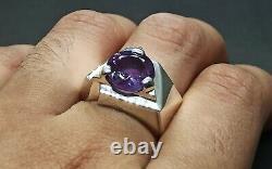 Round Cut 5 Carat Rare Alexandrite Mens Ring Sterling Silver 925 Handmade Ring