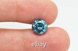Round Shaped Diamond Loose 3.07 Carat Fancy Blue Color Real I1 Certify Enhanced