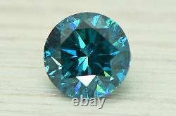 Round Shaped Diamond Loose Fancy Blue Color SI1 Real Natural Enhanced 1.72 Carat