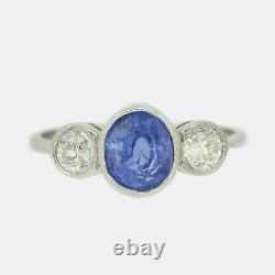 Sapphire Platinum Ring-2.37 Carat Sapphire and Diamond Three Stone Ring Platinum