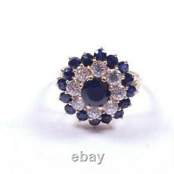 Sapphire and Cubic large 9 carat gold cluster ring Size O1/2