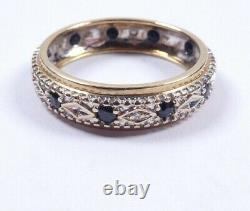Sapphire and Diamond Ring full eternity 9 carat gold size O1/2