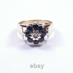 Sapphire and diamond cluster ring 9 carat yellow gold Vintage Size O1/2
