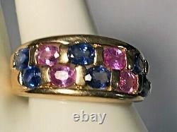 Signed 10k Gold 1.50 Carat Pink & Blue Sapphire Men+women Ring 4.36 Gr +ring Box