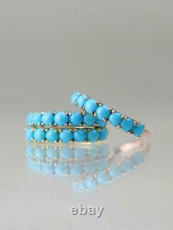 Sleeping Beauty Turquoise Solid 14 Karat Gold Band Ring