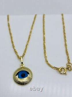 Solid Genuine 9carat Yellow Gold Blue Evil Eye Necklace Chain 18 New