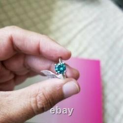 Solitaire Engagement Ring, 1.43 Carat Fancy I2 Blue Diamond, 14k White Gold