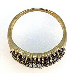 Three-Row 1.3 Carat Sapphire SIZE 8 Demi-Band Ring in 10K Gold 3.2g