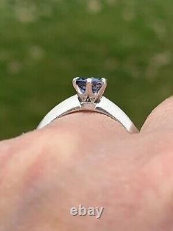 Tiffany & Co Platinum Blue Sapphire Solitaire Knife Edge Band Ring. 60 Carats