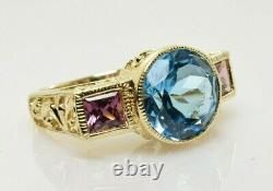 Topaz and Rhodolite Filigree Ring in 14k Yellow Gold 4.72 Carats Size 7