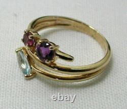 Unusual Design 9 carat Gold Amethyst Pink Tourmaline & Blue Topaz Ring K. 1/2