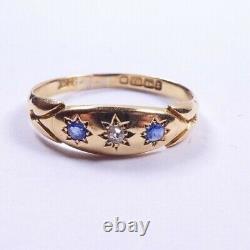 Victorian Sapphire Diamond Ring 18 carat yellow gold Birmingham 1899