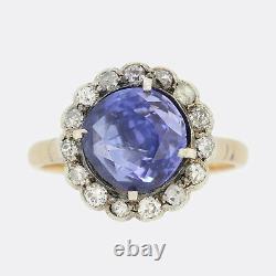 Victorian Unheated 2.80 Carat Ceylon Sapphire and Diamond Ring 18ct Rsoe Gold