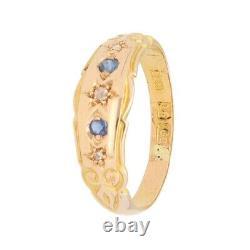 Vintage 15Carat Yellow Gold Sapphire & Diamond Dress Ring (Size J 1/2) 6mm Wide