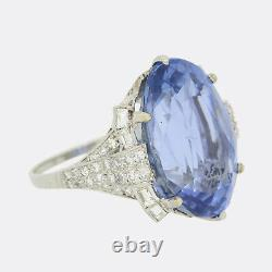 Vintage 26.93 Carat Unheated Ceylon Sapphire and Diamond Ring Platinum