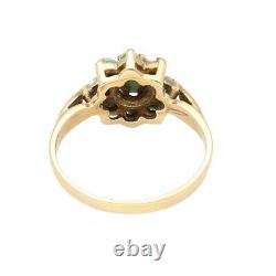 Vintage 9Carat Yellow Gold Turquoise Cluster Ring (Size J) 9mm Head