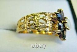 Vintage 9 Carat Gold, Sapphire and Opal Flower Cluster Ring Size J J1/2