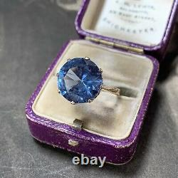 Vintage 9ct Yellow Gold large Blue Topaz statement ring 6.79 carats UK L, US