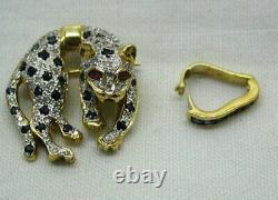 Vintage Beautiful 14 carat Gold Sapphire Ruby & Diamond Leopard Brooch Pendant
