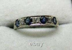Vintage Beautiful 18 carat White Gold Sapphire And Diamond Ring Size J