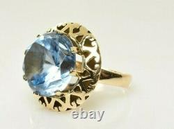 Vintage Blue Spinel Cocktail Ring in 14k Yellow Gold 14.80 Carats Size 6.5