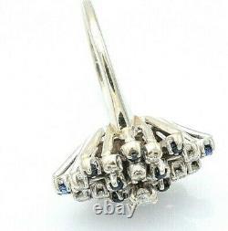 Vintage Estate 1/2 Carat Diamond & Sapphire Cocktail Ring 14K White Gold