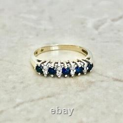 Vintage Natural Sapphire & Diamond Band 14 Karat Yellow Gold Cocktail Ring