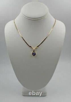 Vintage Retro 1 Carat Tanzanite 14K Yellow Gold Serpentine Chain Necklace