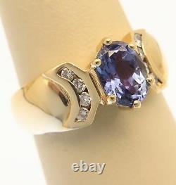 Violet Blue 1.25 Carat Natural Tanzanite & Diamond 14K Gold Ring Size 7.5