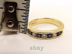 Vtg 14K Gold Blue Sapphire Diamond Ring Sz 6.5 Channel Estate. 2 TCW Carat Row