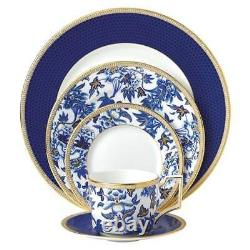 Wedgwood 5-Piece Hibiscus China Dinner Plate Place Setting Set 22 Carat gold