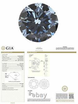 0.26 Carat Fancy Deep Blue Diamond Vs1 Gia Certifié Couleur Naturelle Forme Ronde