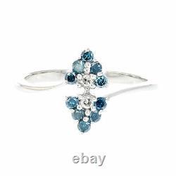 0.33 Ct Anneau De Diamant Bleu 10k Or Blanc Taille 7