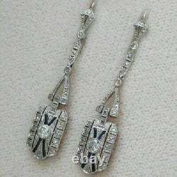 0.35 Carat Bleu Saphir Diamant Rond Boucle D'oreille Art Déco 14k Or Blanc Fn 925 Ss