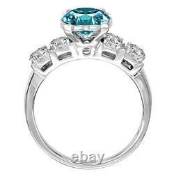 0.45 Carat Bleu Si2 5 Bague De Fiançailles En Diamant Rond De Pierre 14k Or Blanc