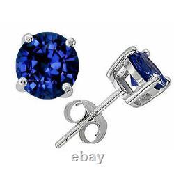 0.50 4.00 Ct 14k Solid White Gold Blue Sapphire Round Shape Stud Boucles D'oreilles Push