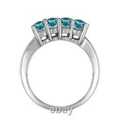 0.50 Carat Blue 4 Stone Round Diamond Solitaire Bague De Fiançailles 14k Or Blanc