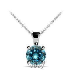 0.50 Carat Blue Diamond Pendentif 14k White Gold Solitaire Necklace 18 Chaîne
