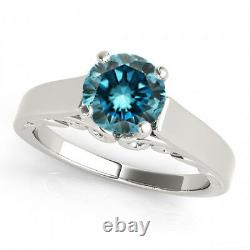 0.50 Carat Blue Si2 Round Diamond Solitaire Bague De Fiançailles 14k Wg Asaar Deal