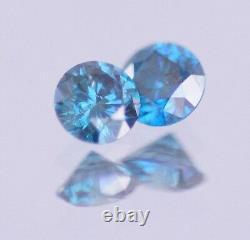 0.50 Carat Fancy Blue Color Enhanced Natural Diamond Loose Pair Stud Asaar Deal