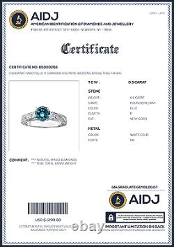 0.50 Carat Fancy Blue Diamond Solitaire Mariage Nuptiale Ring 14k Wg Asaar Deal