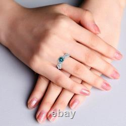 0.5 Carat Blue Si2 Round Diamond Solitaire Halo Fancy Bridal Ring 14k Or Blanc